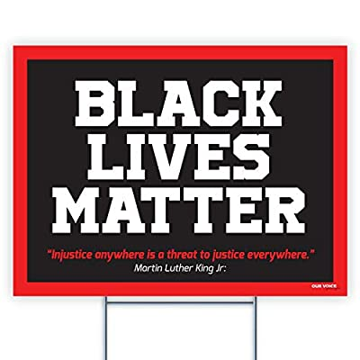 Yard Sign Black Lives Matter with Stakes, Weatherproof Plastic Protest Signs for Home Décor with Big and Bold Letters, 18 x 24 inches (#2)