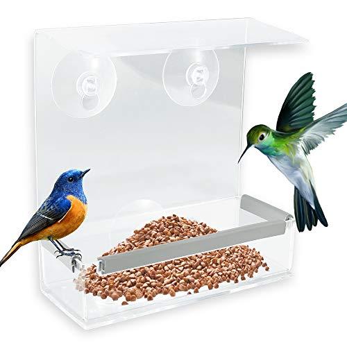 Fenster Futterhaus, Hängender Vogelhäuschen mit 3 Saugnäpfen, Futterspender, Vogelfutterhaus für Meisen, Spatzen & kleineren Wildvögel