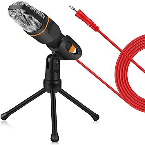 DHQSS condensatormicrofoon, stereo, 3,5 mm, met kabel en houder voor PC/chat/Singing/karaoke/laptop