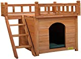 COZIWOW Dog Houses for Small Medium Dogs Indoor Outdoor Waterproof, Wood Pet Furniture, Wooden Cat Hut Shelter for Cat Kitten Puppy with Stairs Balcony