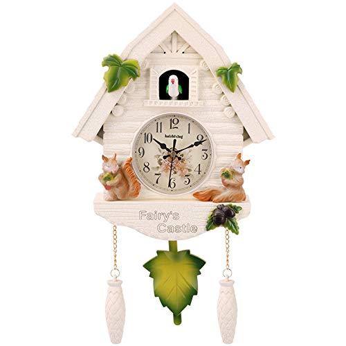 ZJWD Reloj De Cuco Reloj De La Selva Negra con Péndulo, Reloj De Pared con Forma De Pajarera con Voces De Pájaros Naturales, Reloj para Habitación Infantil,B
