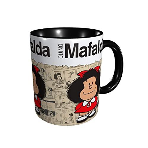 Tazas de café de anime tazas de café de cerámica de la marca Mafalda Tazas de café de la novedad regalo hogar viaje café tazas negro