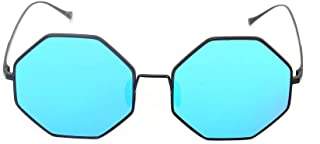 Fashion Polygonal Sunglasses Glasses Gray Blue Men's and Women's Fashion Fashion Wild Sunglasses Retro (Color : Blue)