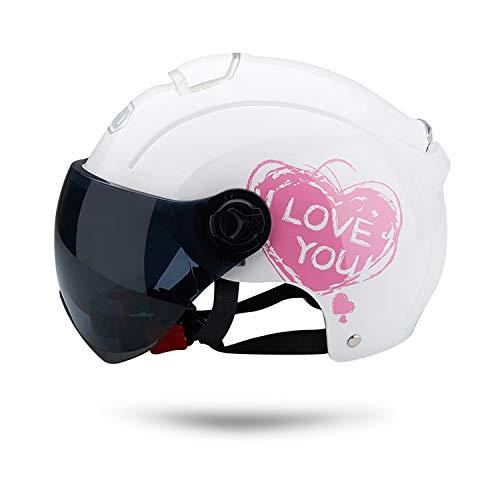 Galatée Cascos de Motocicleta Para Hombres y Mujeres, Ciclomotor Cascos Con Visera Reflectante.El cabezal anticolisión protege la seguridad vial de los usuarios(Blanco)