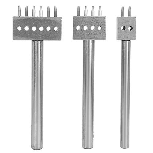 3PCS Spacing Punch Tool DIY Leder Craft Hole Punching Set Gürtel Beruf Leder Hole Punch Tools Schneidstich für Wallet Belt Hole Puncher(6 mm Abstand (2 + 4 + 6))