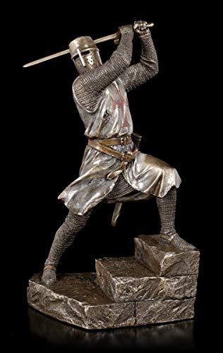 Unbekannt Tempelritter Figur schwingt Zweihänder Schwert | Templer, Dekofigur, bronziert & coloriert, Serie: Studio Collection, H 29,5 cm