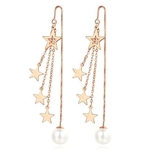 DFDLNL Puños de Oreja para Mujer Pendientes de Borla de Estrella Pendientes de Perlas de Cadena Pendientes Oro Rosa