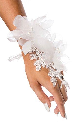 Yourdesignerz Weißer Blumen Handschmuck mit Spitze transparent elegante Organzablüten und Strasssteinen Fingerschlaufe