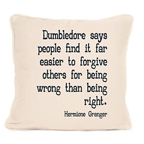 Hermione Granger - Cojín con almohadilla con frase 'Dumbledore Says People Find It', ideal para regalo de Navidad, cumpleaños o cualquier otra ocasión, 45,7 x 45,7 cm