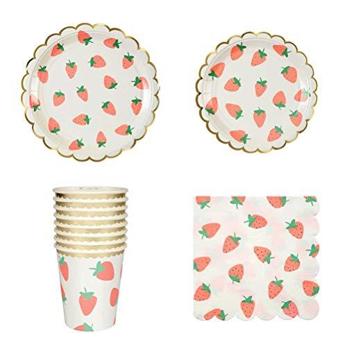 Toyvian Partygeschirr, Vergoldet Erdbeere, Pappteller, Becher, Servietten, 40 Stück