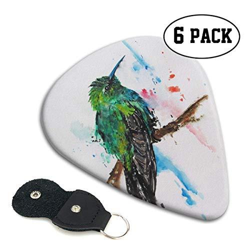 Set mit 6 Plektren (0,71 mm), Plektrum für Akustikgitarre, E-Gitarre, Ukulele, Bass, Guitar Picks, Zubehör für Gitarre, Hummingbird Painting