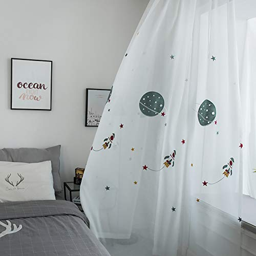 Naturer Voile Gardinen Kräuselband Muster 175x140 Kinder Planet Sterne Blumenmuster 2 Stücke Tülle Vorhänge Fenster Dekoschal für Kinderzimmer Babyzimmer Wohnzimmer