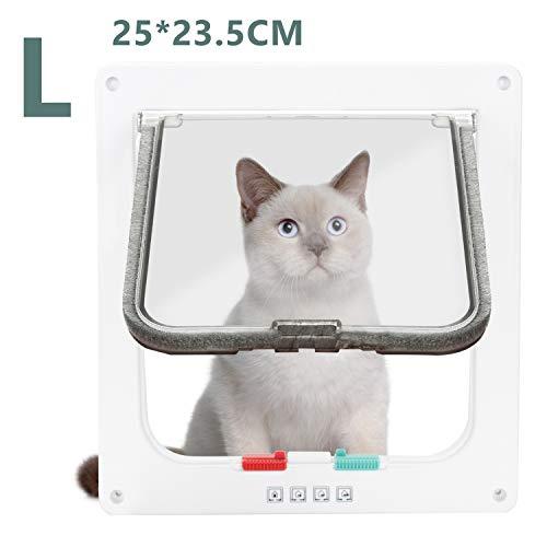 Hengda Katzenklappe 4 Wege Magnet-Verschluss Installieren Leicht Hundeklappe Installieren (M 20 * 19.2 * 5.5cm)