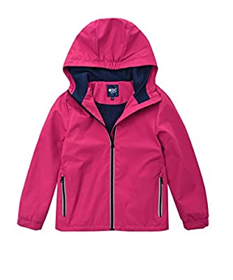 M2C Girls Hooded Outdoor Fleece Lined Waterproof Jacket Pink 4/5