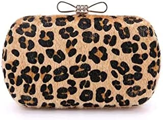 DoBaakYing Newest Evening Hand Bag for Women with Leopard Printed Design Purse, Crystal Bowknot Bling Party Clutch Bag