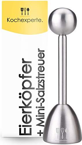 Kochexperte. - Eierköpfer + Salzstreuer aus Edelstahl | Eierschalensollbruchstellenverursacher | Eiersollbruchstellenverursacher | Eierschneider