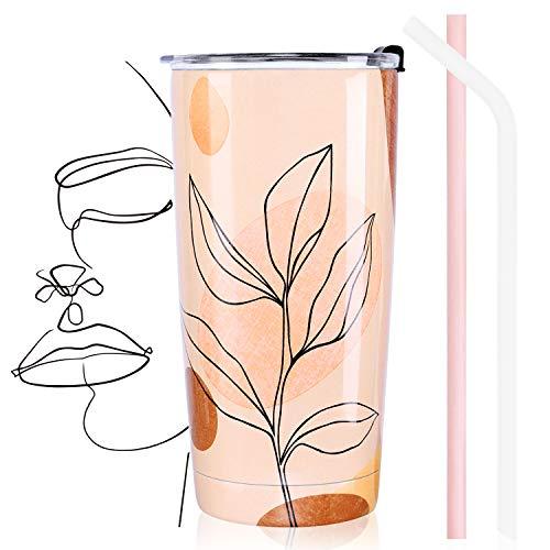 NymphFable 20oz Foglie Ragazza Tazza Termica da Viaggio Tazze Caffe Cannuccia Coperchio Termos Bicchieri Tazza Termica Inox