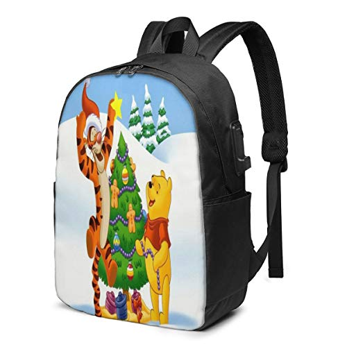 Fashion Leisure Backpack for Girls and Boys, Large Laptop Backpack, Waterproof Business Carry On Backpack for Men and Women, Water Bottle Pockets Daypack,Disney Winnie Pooh Christmas Trees Snow