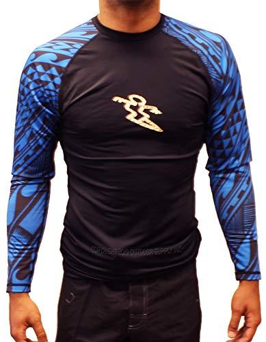 Da Hui Mens Tribal Long Sleeve Rash Guard Water Surf Shirt UPF 50+