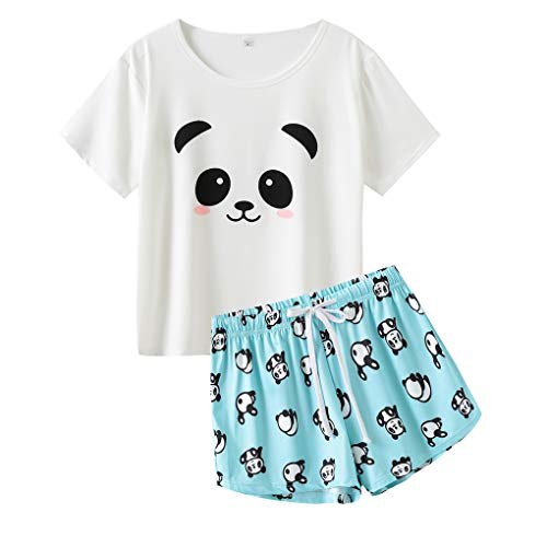 MyFav Damen Schlafanzug Pyjama Set Weiche Kurzarm Sommer Süße Cartoon Homewear, Panda, Small