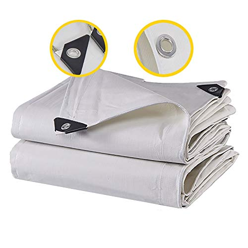 White PE Tarpaulin with Grommets, Waterproof Heavy Duty Tarp Cover Cloth, Multi Purpose Ground Sheet Cloth for Outdoor Truck Tent (Size : 2×5m/6.6×16.4ft)