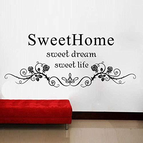 Pegatinas de pared Sweet Home Sweet Dreams Rose Vine Poster Wallpaper Wallpaper Decoración del hogar Pareja romántica Dormitorio Pegatinas de pared 28X42Cm