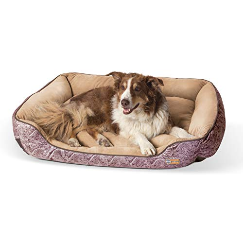 K&H Pet Products Self-Warming Lounge Sleeper Dog Bed, Large (32' x 40'), Brown Paisley