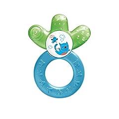 MAM Cooler Nowy, ząbkujący pierścień dla niemowląt promuje wzrok & umiejętności motoryczne, greifling z częścią chłodzącą wodę dociera również do zębów policzkowych, od 4+ miesięcy, zielony/niebieski