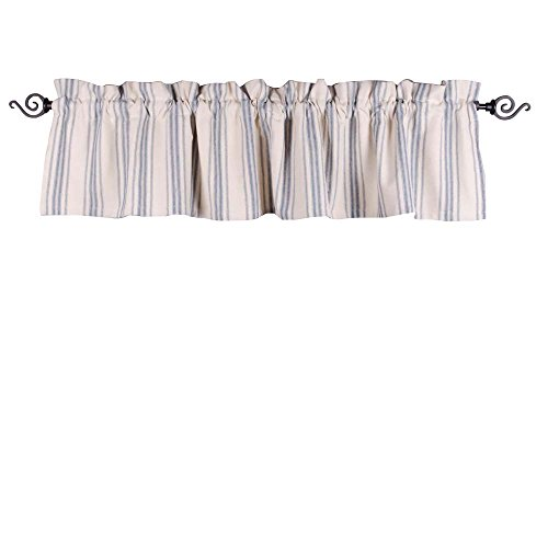 Home Collections by Raghu 72x15.5 Cream Grain Sack Stripe Colonial Blue Valance