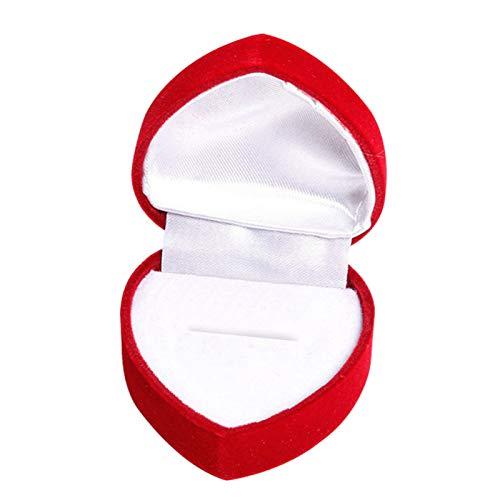 Yosemite Expositor de joyas Festival Boda Corazón en Forma de Anillo de Joyería Pendiente Caja de Exhibición Pequeña Caja Suave para Collar Pendientes - Blanco