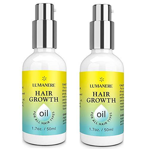 Lumanere Hair Growth Oil Hair Growth Serum 2 Pack for Thicker Longer Fuller Healthier Hair, Prevent Hair Loss & Thinning, All Natural Vitamin Rich Treatment, Women & Men, All Hair Types 1.7 oz