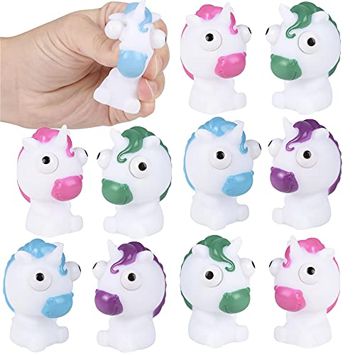 ArtCreativity Squeezy Unicorn with Pop Out Eyes, Set of 12, Fun Squeeze Stress Relief Toys for Kids, Fun Goodie Bag Fillers, Birthday Party Favors for Boys and Girls