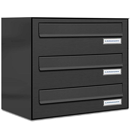 AL Briefkastensysteme 3er Briefkasten für Tür/Zaundurchwurf in Anthrazit Grau RAL 7016, 3 Fach, wetterfeste Briefkastenanlage Design modern