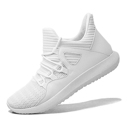 MAIERNISIJESSI Men's Women's Casual Lightweight Trainers Breathable Mesh Sneakers Running Shoes White 45-11.5 Women/10 Men