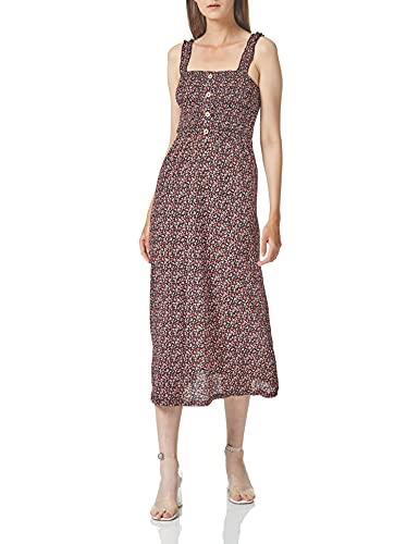 Only Onlpella S/L Dress CS Jrs Vestido, Negro/AOP: Ruta Ditsy, Mujer