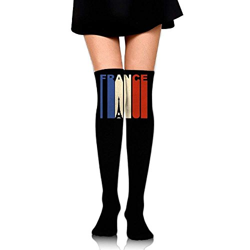 JAONGSADY Women's Knee High Sport Long Sock Vintage Retro 1970's Style Eiffel Tower France vlag for Running Sport Long Stockings