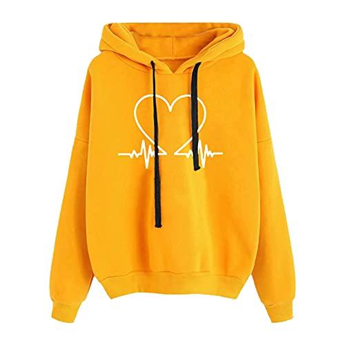 Briskorry Liebes EKG - Sudadera con capucha para adolescentes y niñas con cordón, amarillo-2, L