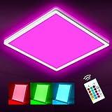 Oraymin LED Deckenleuchte Farbwechsel, 15W 1800LM RGB Deckenlampe Dimmbar mit Fernbedienung, IP44 Wasserdicht 4000K und Hintergrundbeleuchtung Lampen für Wohnzimmer Kinderzimmer Schlafzimmer, 29CM