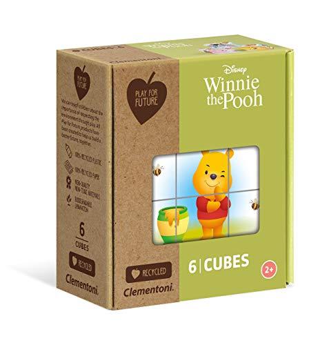 Clementoni- Play for Future-Disney Winnie The Pooh Puzzle Cubi, 6 Pezzi, Multicolore, 44001