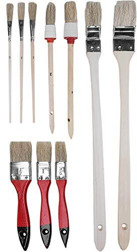 Werkzeyt Pinsel-Set 10-teilig - Für wasserbasierte Farben & Lacke - Bestehend aus Flachpinsel, Heizkörperpinsel, Rundpinsel & Emaillelackpinsel - Helle Kunststoffborsten / Malerpinsel / B21623