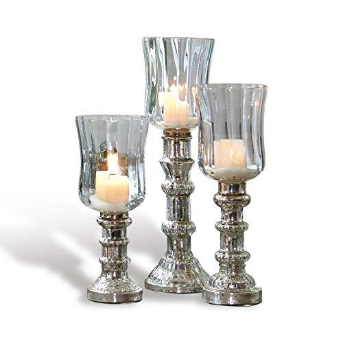 Loberon Windlicht 3er Set Fréjeville, Glas, H/Ø ca. 31/8,5 cm, klar/Silber