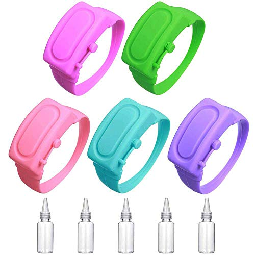 5 Pieces of Silicone Hand Sanitizer Bracelet Dispenser, 5 Pieces of Refill Bottling Dispenser, Bracelet Hand Sanitizer Dispenser, Wearable Disinfectant Gel Portable Dispenser Bracelet.