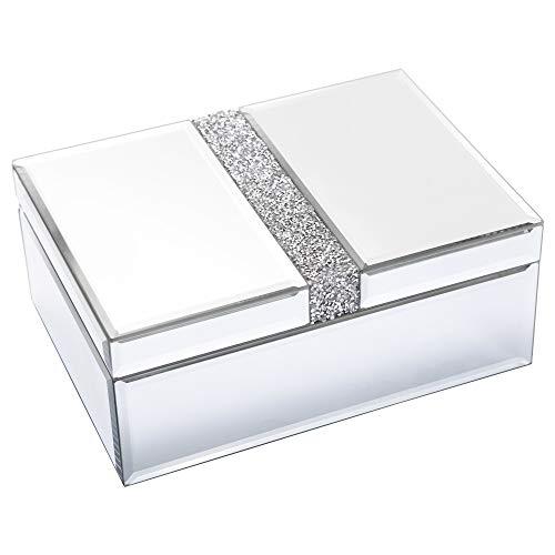 TIMETRACE Organizador grande de joyería de cristal organizador de almacenamiento para mujeres y niñas, regalo de lujo