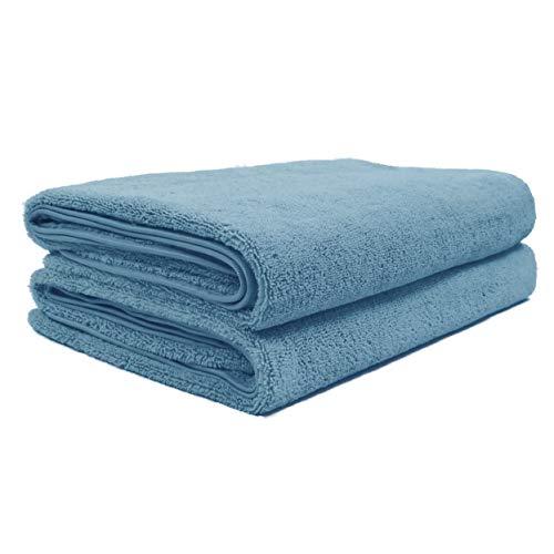 Polyte - Toalla de baño de Microfibra antipelusa - Secado rápido - Premium - 88,9 x 177,8cm - Pack de 2 (Azul)