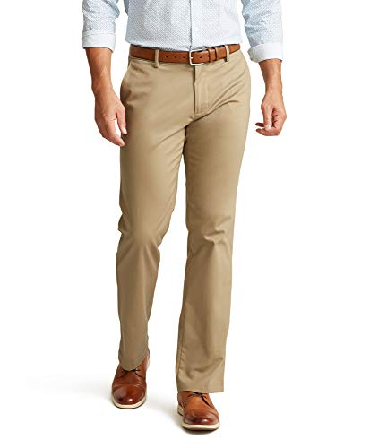 Dockers Men's Straight Fit Signature Lux Cotton Stretch Pant, New British Khaki, 32W x 30L