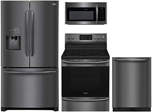 """Frigidaire 4-Piece Kitchen Package with FGHB2868TD 36"""" French Door Refrigerator, FGEF3036TD 30"""" Electric Range, FGMV176NTD 30"""" Over the Range Microwave Oven, and FGID2466QD 24"""" Built In Fully Integrat"""
