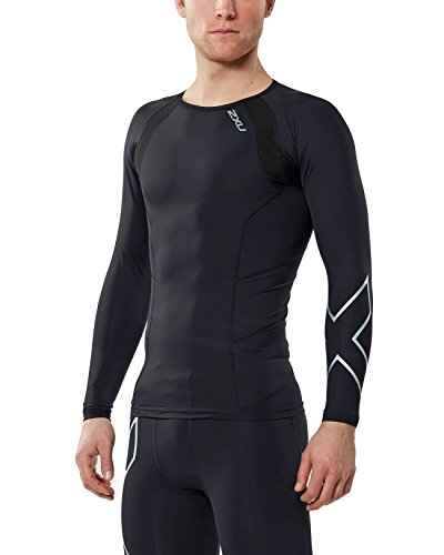2XU Men's Long Sleeve Compression Top, Black/Silver X, Medium