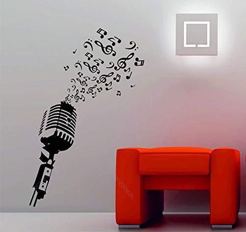 Note di Musica per Microfono Musica da Studio retrò DJ Decorativo Adesivo da Parete in Vinile Poster Home Art Design Decorazione