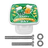 4 pomos de cristal con botones de seta cuadrados, para aparador, tiradores de puerta y cajón, para armario, con cerveza artesanal, día de San Patricio