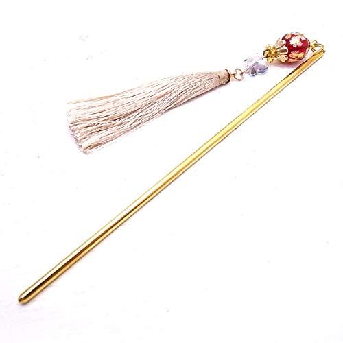 [カンザシ ファクリトリー ミウ]Kanzashi Factory Miu かんざし 赤の桜のトンボ玉と刺繍糸のゴールドタッセル de-99-mi-04